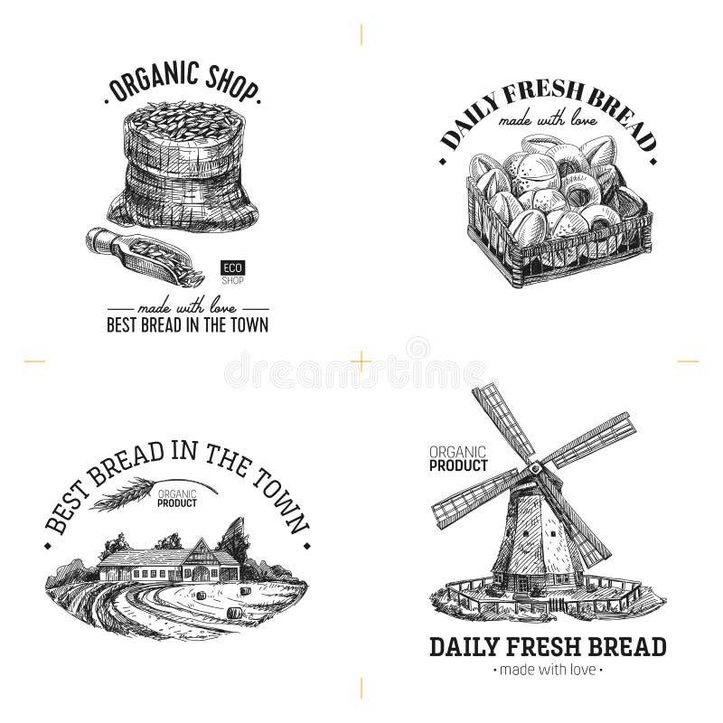 Mooie vectorhand getrokken bakkerij en broodwinkelillustraties vector illustratie