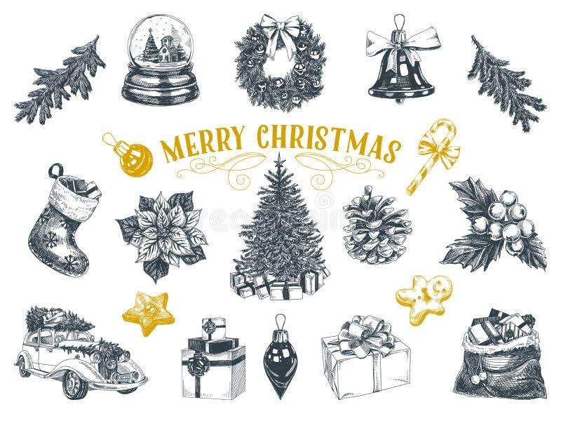 Mooie vectorhand getrokken geplaatste Kerstmisillustraties vector illustratie