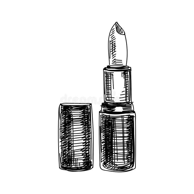 Mooie vectorhand getrokken uitstekende lippenstiftillustratie stock illustratie