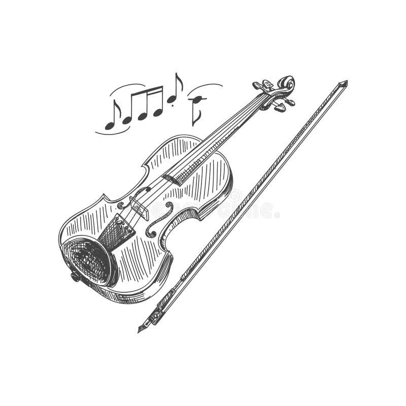 Mooie vectorhand getrokken viool en een boogillustratie royalty-vrije illustratie