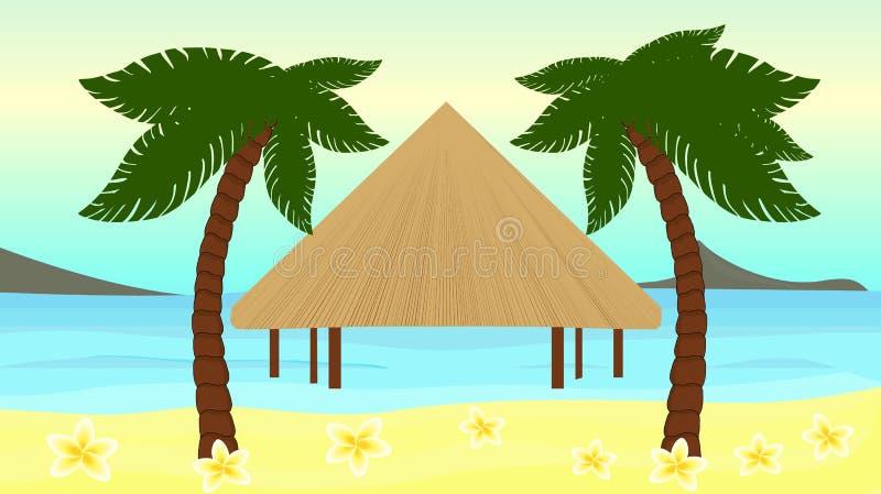Mooie vectorillustratie van de kust van het tropische eiland royalty-vrije illustratie