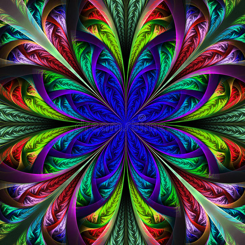Mooie veelkleurige fractal bloem. Computer geproduceerde grafiek stock illustratie