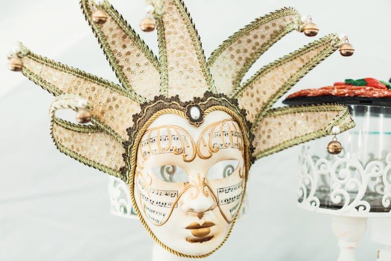 Mooie Venetiaanse maskersachtergrond Het beeld van de close-up stock afbeeldingen