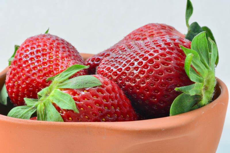 Mooie verse en rijpe aardbeien in een terracottapot Concept gezonde voeding en plezier met natuurvoeding stock foto