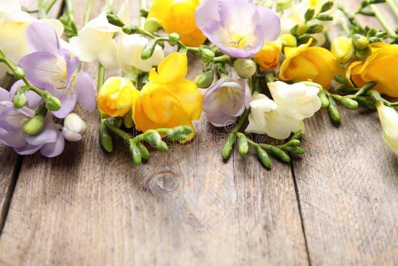Mooie verse fresiabloemen op houten achtergrond, close-up stock fotografie
