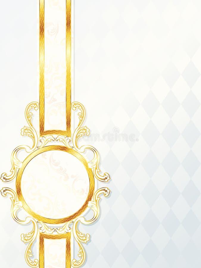 Mooie verticale rococo huwelijksbanner stock illustratie