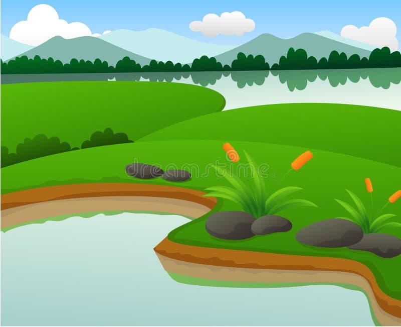 Download Mooie Vijver En Meeraardlandschappen Vector Illustratie - Illustratie bestaande uit overzees, paradijs: 39101691