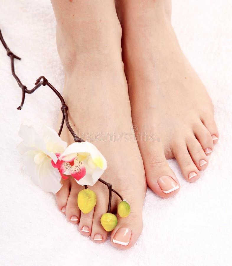 Mooie voeten met perfecte kuuroord Franse spijker pedicure royalty-vrije stock afbeeldingen