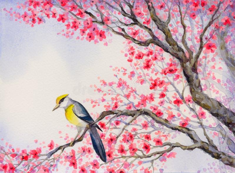 Mooie vogel op bloeiende tak Het Schilderen van de waterverf royalty-vrije illustratie