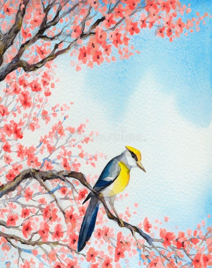 Mooie vogel op bloeiende tak Het Schilderen van de waterverf vector illustratie
