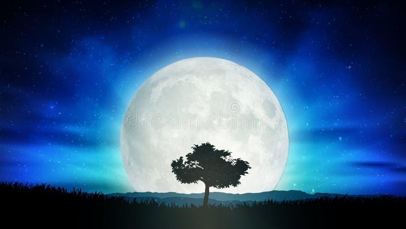 Mooie volle maan, het landschap van de het silhouetaard van de eenzaamheidboom vector illustratie