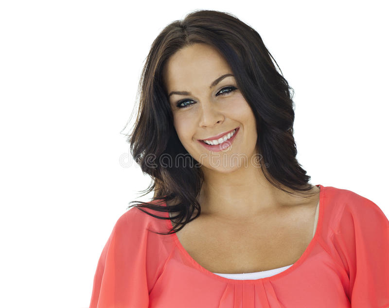 Mooie Volwassene die Latijnse Vrouw glimlacht stock afbeelding