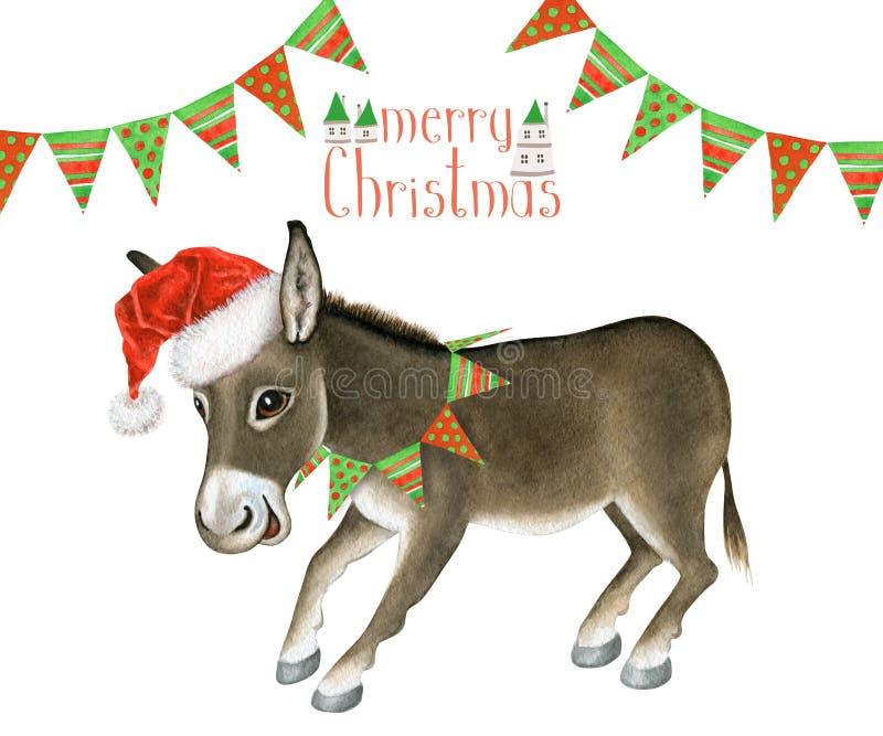 Mooie Vrolijke Kerstmis van de groetkaart met grappige ezel royalty-vrije illustratie