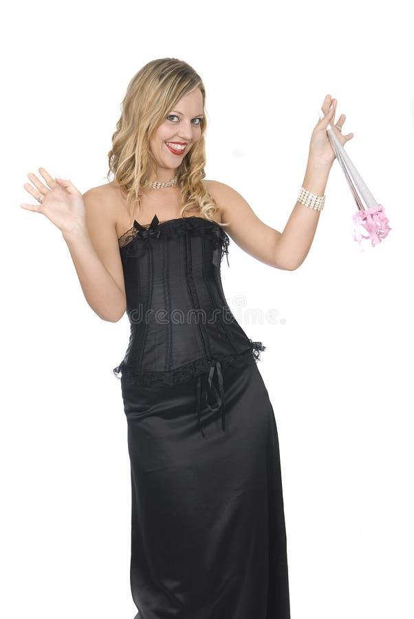 Mooie vrouw bij een nieuwe jaarpartij royalty-vrije stock foto's