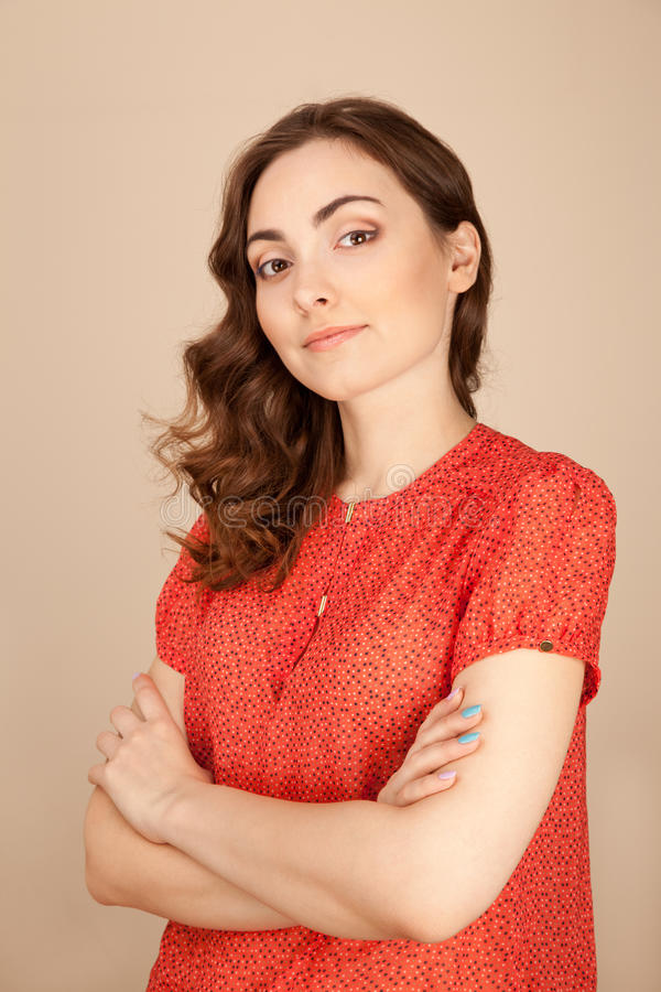 Mooie vrouw in blouse royalty-vrije stock afbeeldingen