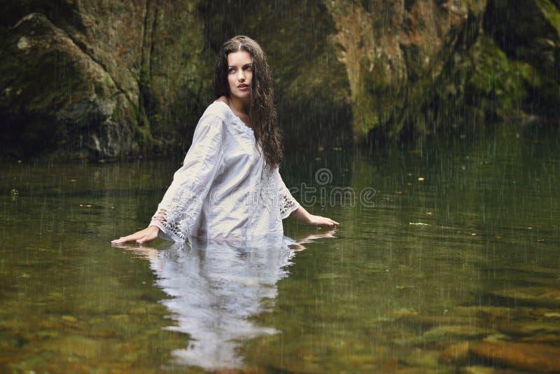 Mooie vrouw in bosstroom stock foto's