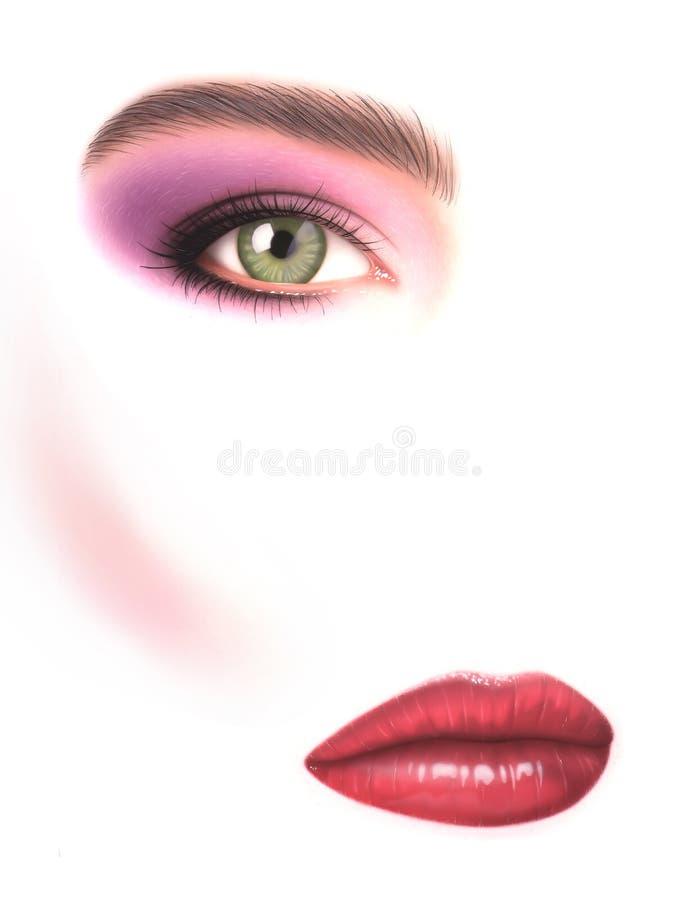 Mooie vrouw, close-up van oog met samenstelling en mond, op whit stock foto's