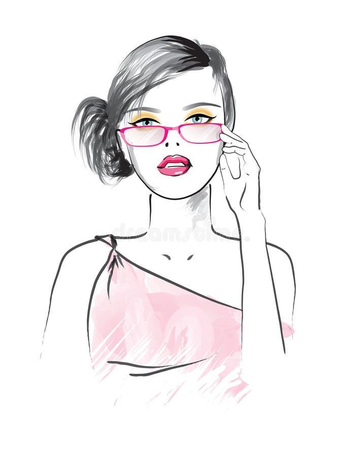 Mooie vrouw in de glazen royalty-vrije illustratie
