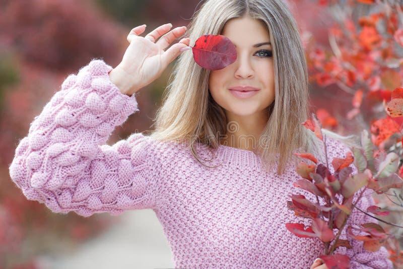 Mooie vrouw in de herfstpark royalty-vrije stock foto's