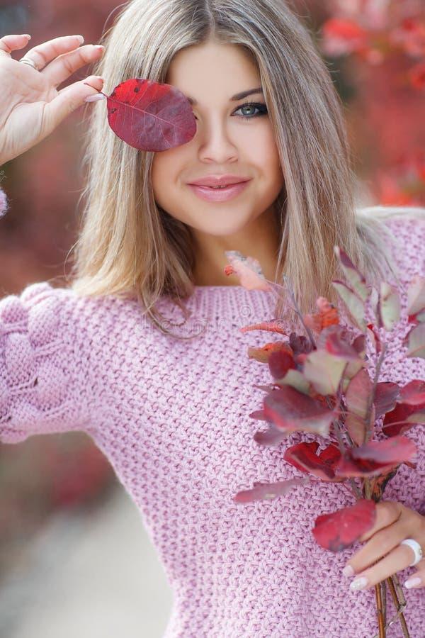 Mooie vrouw in de herfstpark royalty-vrije stock afbeeldingen