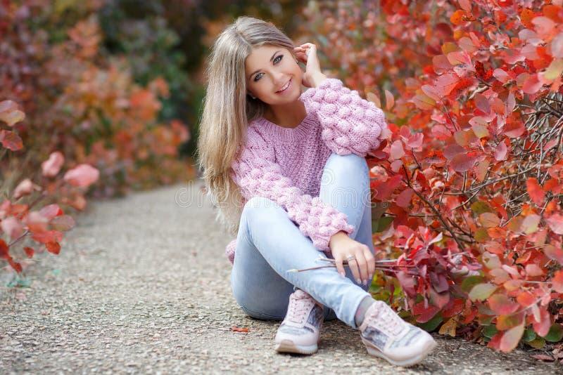 Mooie vrouw in de herfstpark stock fotografie