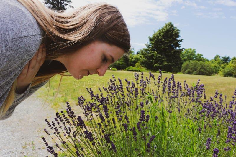 Mooie vrouw in de tuin ruikende bloemen Meisje die een boeket van lavendel op een hete de zomerdag ruiken oud royalty-vrije stock fotografie