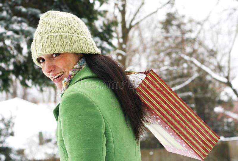 Mooie vrouw in de winter het plaatsen royalty-vrije stock afbeeldingen