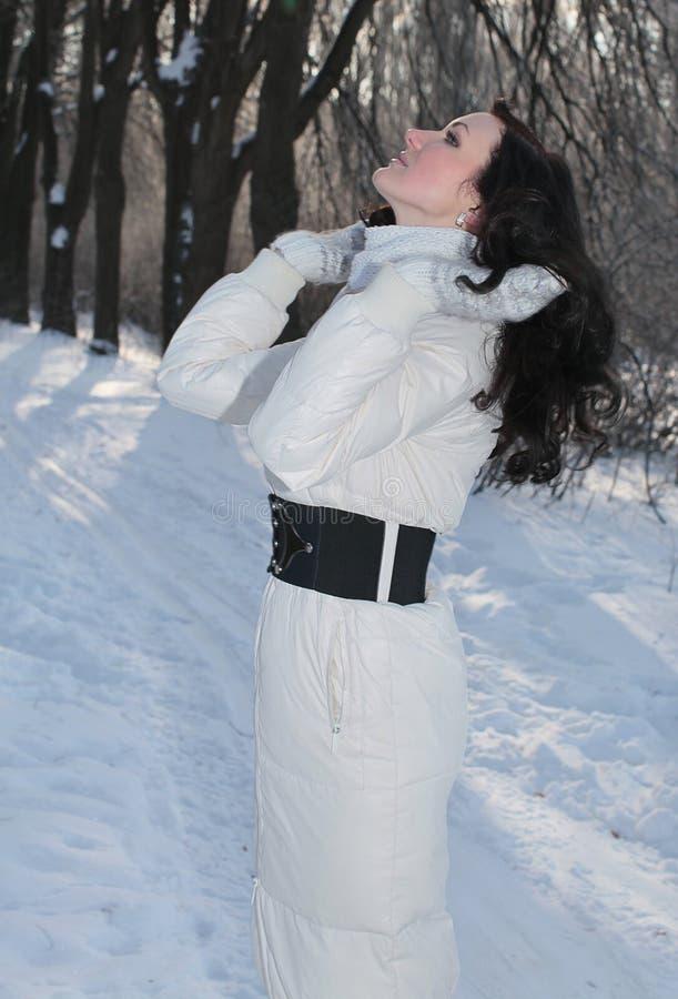 Mooie vrouw in de winterpark stock foto