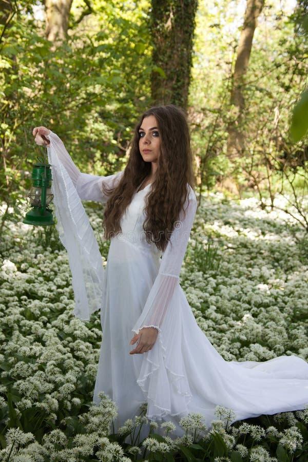 Mooie vrouw die een lange witte kleding dragen die zich in een bos bevinden royalty-vrije stock fotografie