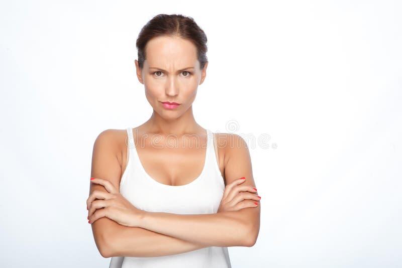 Mooie vrouw die emoties tonen stock foto