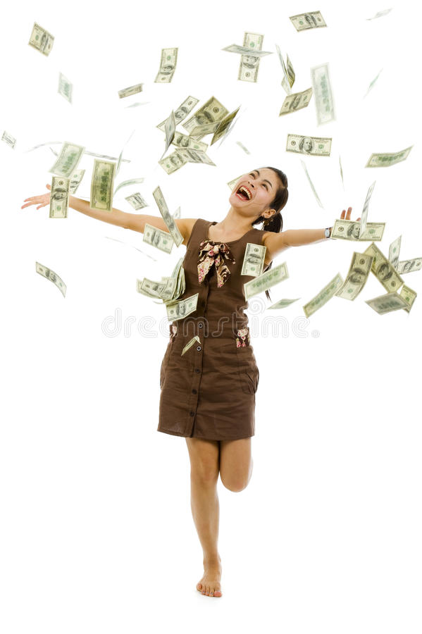 Mooie vrouw die geld werpt stock foto's