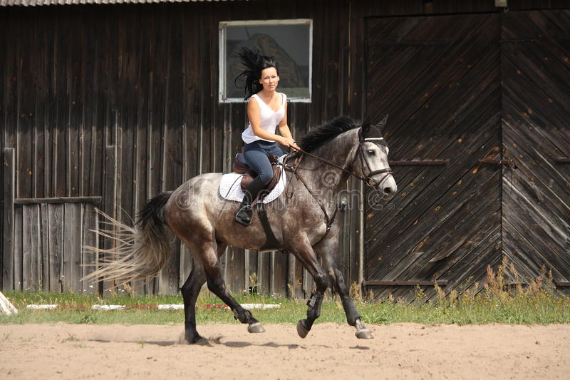Mooie vrouw die grijs paard berijdt royalty-vrije stock foto's