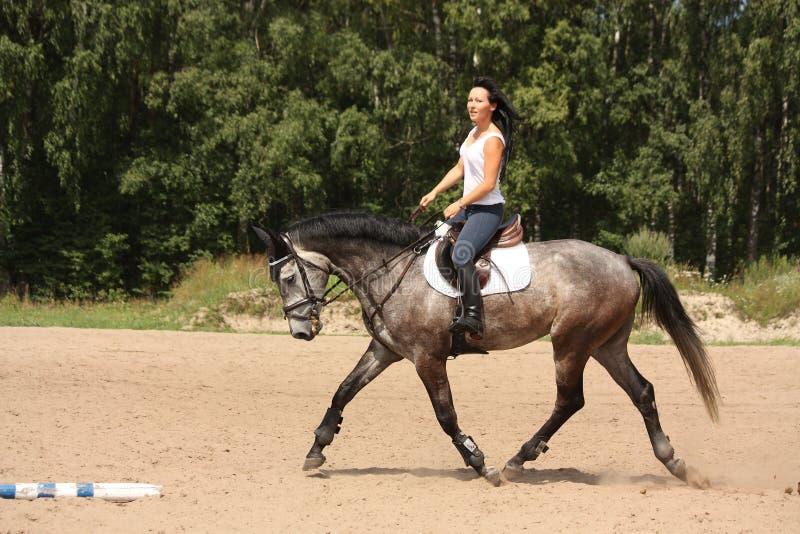 Mooie vrouw die grijs paard berijdt royalty-vrije stock fotografie
