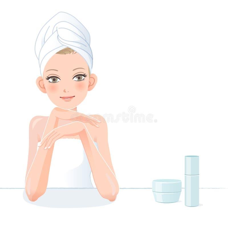 Mooie vrouw die in handdoek met skincareschoonheidsmiddelen glimlachen stock illustratie