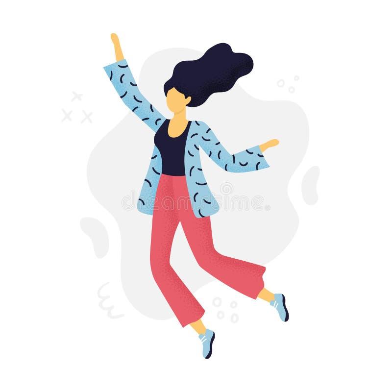 Mooie Vrouw die met vreugde springen royalty-vrije illustratie
