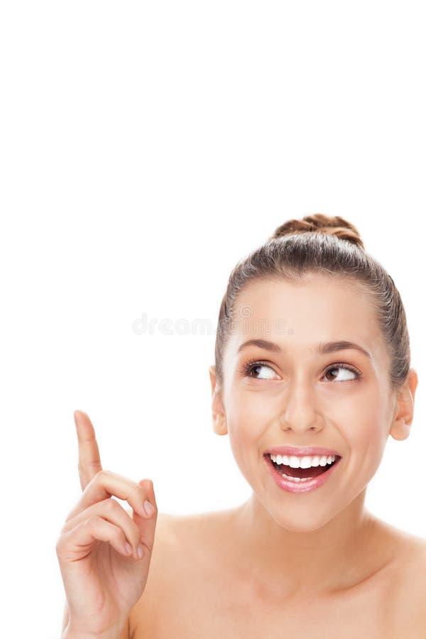 Mooie Vrouw Die Omhoog Kijkt Stock Fotografie