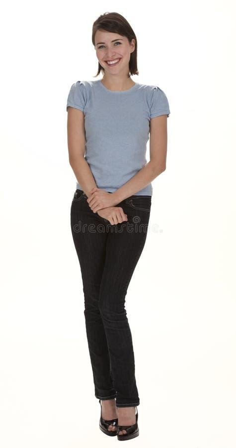 Mooie Vrouw die op Wit wordt geïsoleerdp stock afbeeldingen