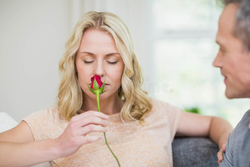 Mooie vrouw die roze ruiken aangeboden door echtgenoot royalty-vrije stock afbeelding