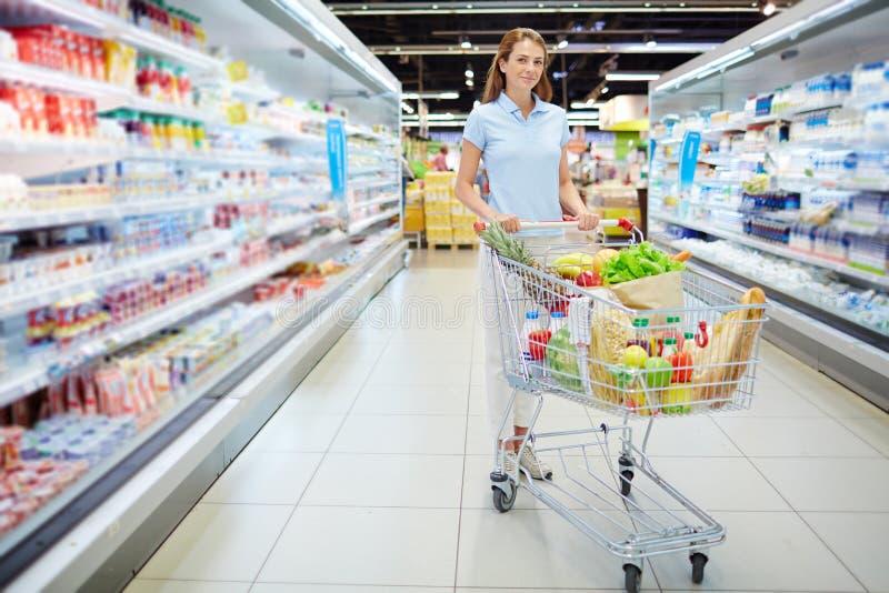 Mooie vrouw die voor gezond voedsel winkelen royalty-vrije stock foto's