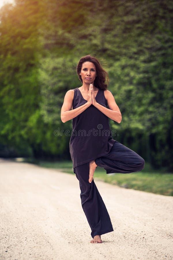 Mooie vrouw die yoga op weide doen stock afbeelding