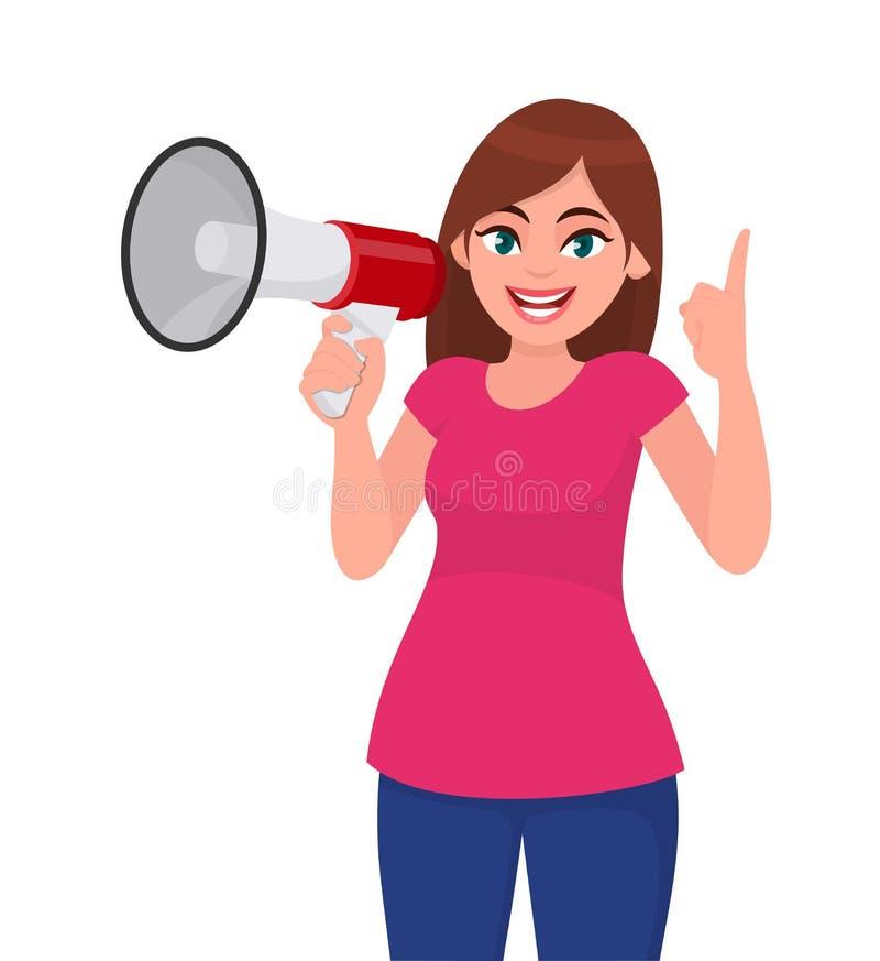Mooie vrouw een megafoon houden/luide spreker die en wijsvinger benadrukken Meisje die aankondiging met megafoon maken vector illustratie