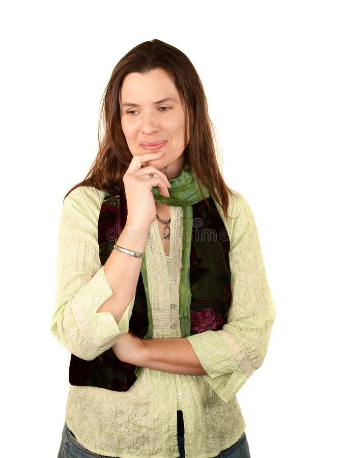 Mooie Vrouw in Groen stock afbeeldingen