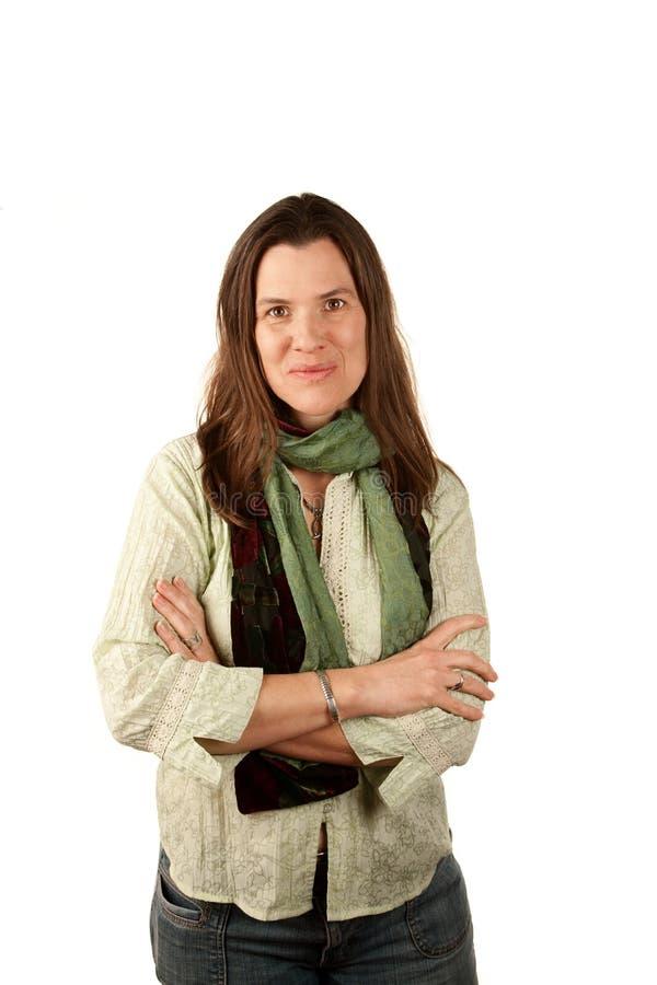 Mooie vrouw in groen royalty-vrije stock afbeeldingen