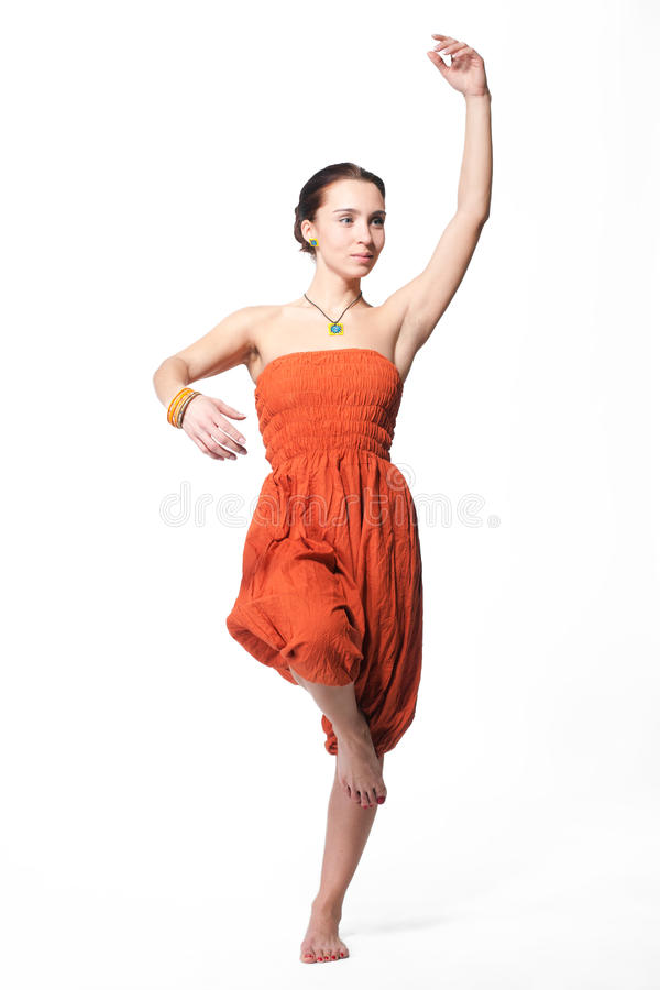 Mooie vrouw het dansen Indische dans royalty-vrije stock afbeeldingen