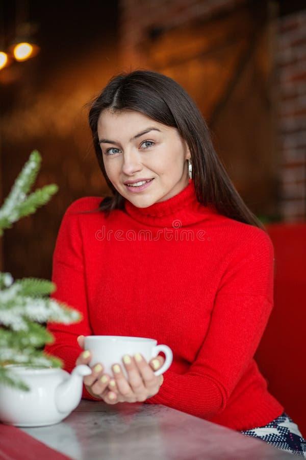 Mooie vrouw het drinken cacao in een gebreide rode sweater Conceptenhuis, comfort, levensstijl, de herfst, de winter, koffie royalty-vrije stock fotografie
