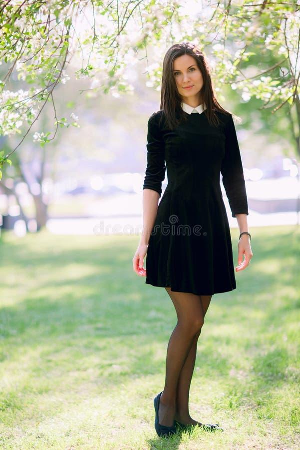 Mooie vrouw in het park stock foto