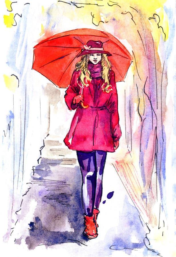 Mooie vrouw in het rode lopen in regenachtige dag in park met paraplu royalty-vrije illustratie