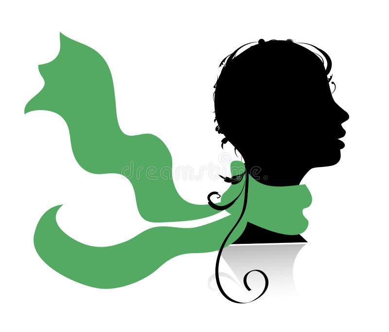 Mooie vrouw, hoofdsilhouet royalty-vrije illustratie