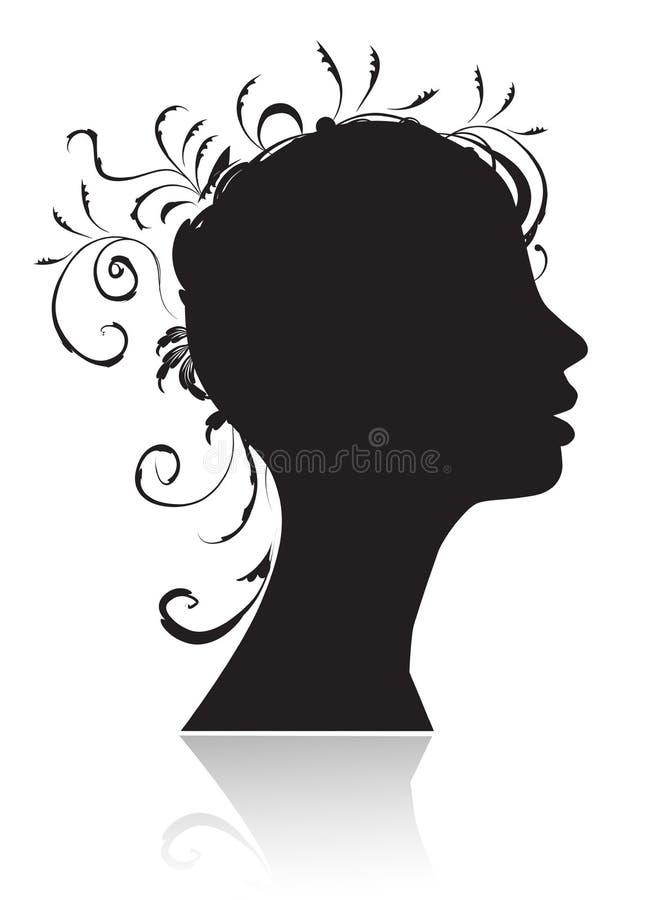 Mooie vrouw, hoofdsilhouet stock illustratie