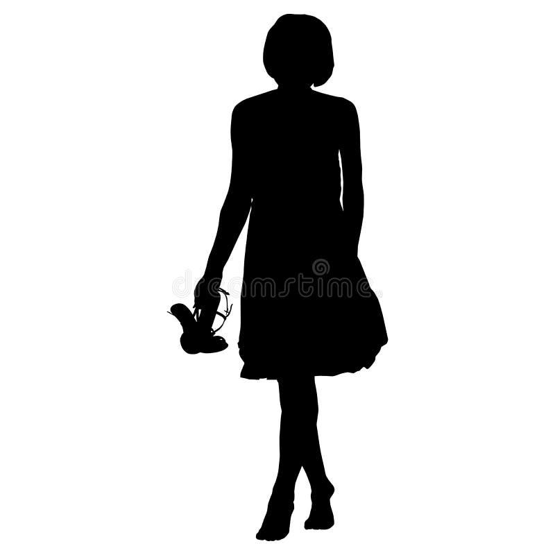 Mooie vrouw in kleding blootvoets met schoenen in handen op een witte achtergrond vector illustratie
